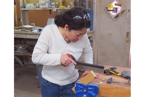Hand-cut tenon at the Southwest School of Woodworking
