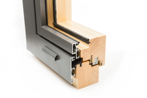 Typical European-style wood-ALU cladding on a Casement window.