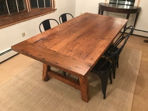 Kevin Awugah using Knot Filler for this reclaimed table