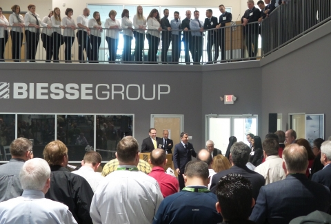 Biesse founder addressing the Grand Opening