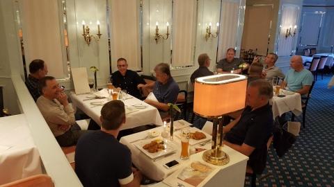 Having dinner on Rangate Euro Tour