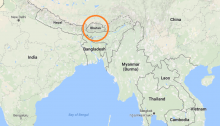 Bhutan on a map